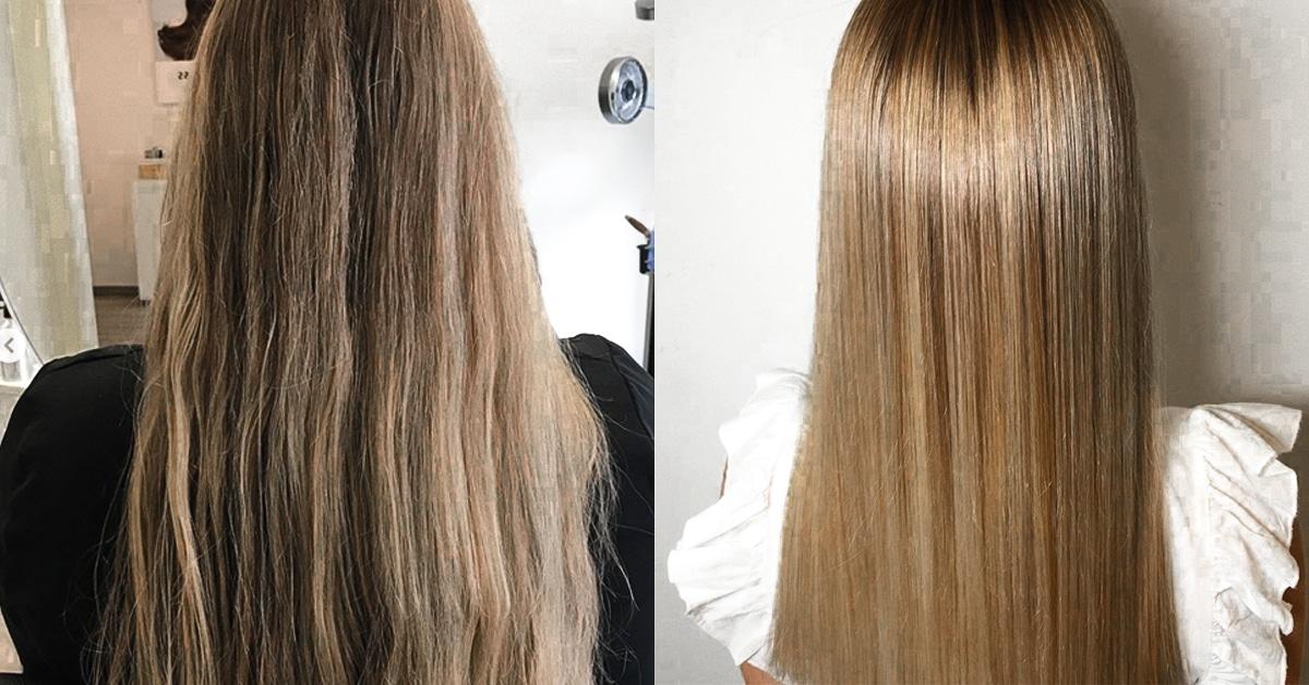 Keratin Vorher-Nachher Kundenvergleich: Für alle, die sich statt krauser Mähne einen glatten und seidigen Haartraum erfüllen möchten. Du bist nur einen Termin von der Veränderung entfernt.