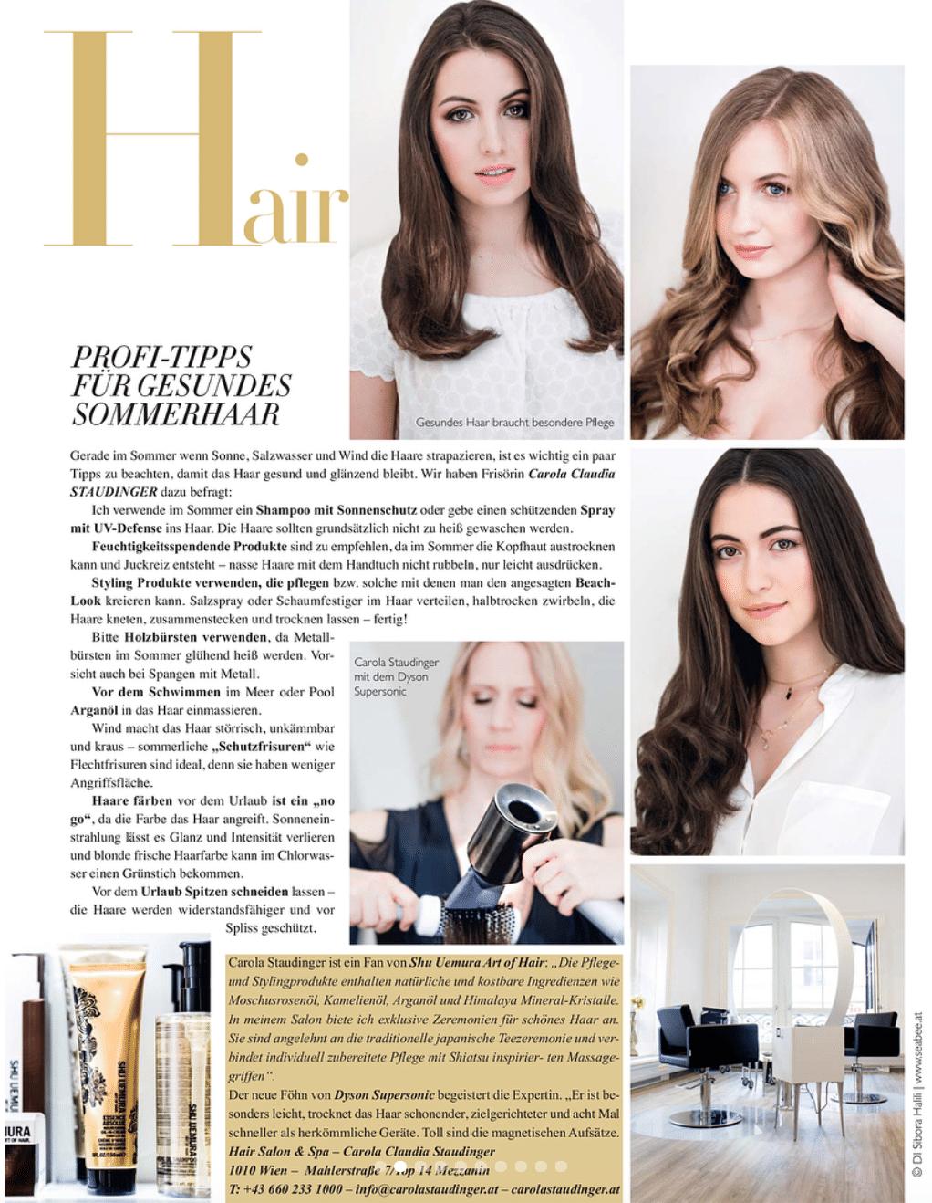 Carola Claudia Staudinger Hair Salon & Spa Sonne, Salzwasser und Wind strapazieren das Haar. Wie könnt ihr euer Haar schützen und pflegen? Carola verrät euch im VON Magazin wertvolle Tipps und Tricks.
